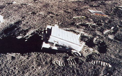 image of retroreflector array and Ziploc bag on Moon surface